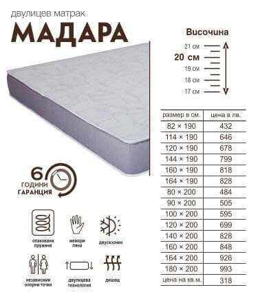 Двулицев Матрак Мадара, Двулицеви матраци, Матраци 1950383033