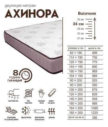 Двулицев Матрак Ахинора, Двулицеви матраци, Матраци 1403586325